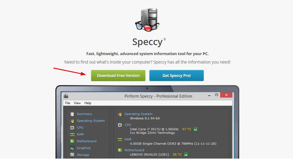 Benchymark Software Speccy