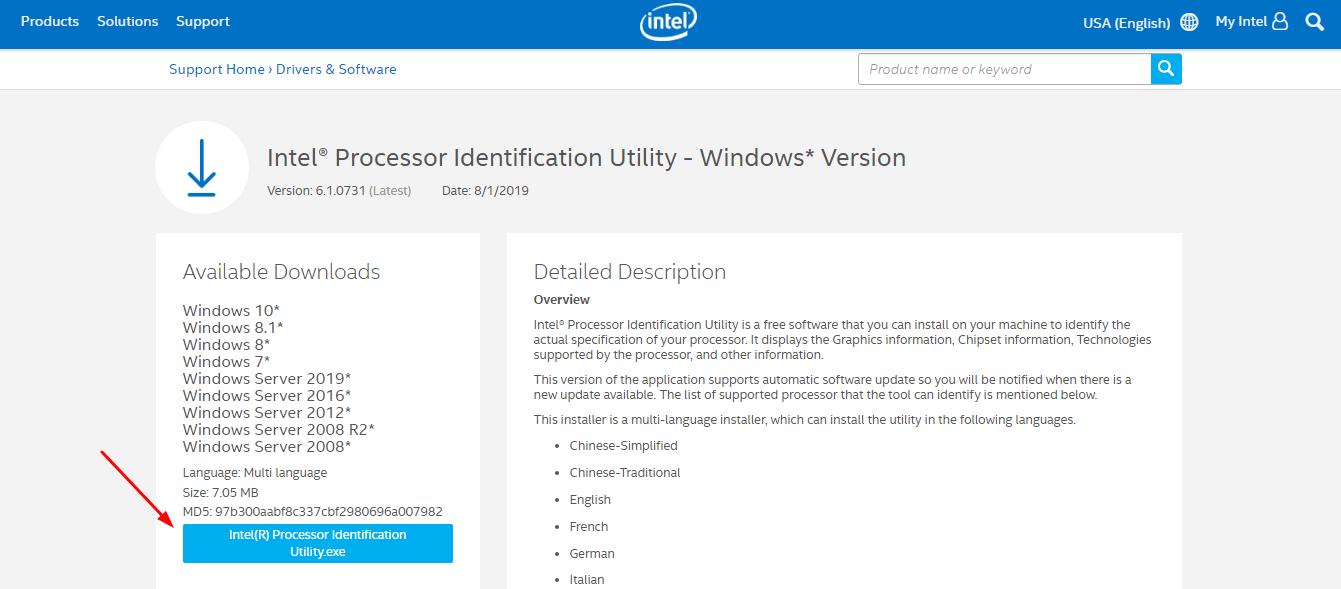 Intel Processor Identification Utility