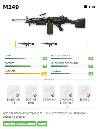 M249 arma LMG Free Fire